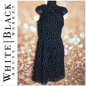 WHBM One Shoulder Polkadot Fit Flare Dress Black